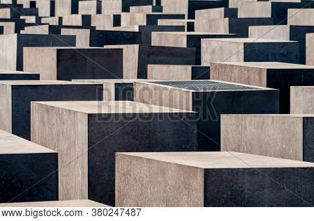 Berlin, Germany - 07 31 2009: The Concrete Slabs Or Stelae Of The Memorial To The Murdered Jews Of E