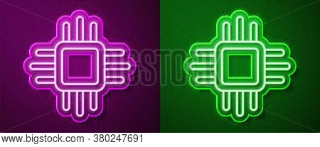 Glowing Neon Line Computer Processor With Microcircuits Cpu Icon Isolated On Purple And Green Backgr