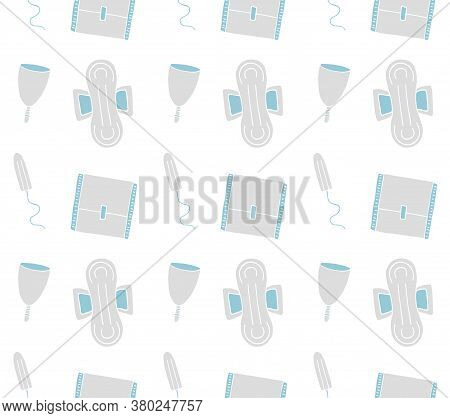 Vector Seamless Pattern Of Different Hand Drawn Doodle Sketch Menstrual Pad Tampon And Cup Isolated