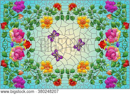 Illustration In Stained Glass Style With Rose Flowers And A Butterfly On A Blue Background