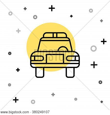 Black Line Police Car And Police Flasher Icon Isolated On White Background. Emergency Flashing Siren
