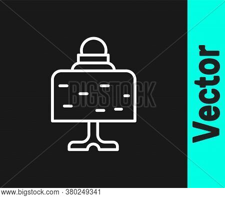White Line Magic Ball On Table Icon Isolated On Black Background. Crystal Ball. Vector