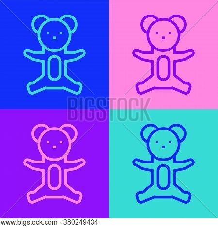 Pop Art Line Teddy Bear Plush Toy Icon Isolated On Color Background. Vector