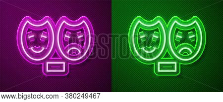 Glowing Neon Line Comedy And Tragedy Theatrical Masks Icon Isolated On Purple And Green Background.