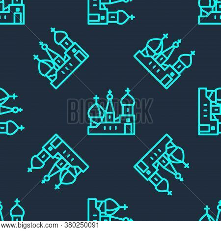 Green Line Moscow Symbol - Saint Basils Cathedral, Russia Icon Isolated Seamless Pattern On Blue Bac
