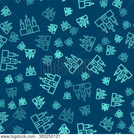 Green Line Church Building Icon Isolated Seamless Pattern On Blue Background. Christian Church. Reli