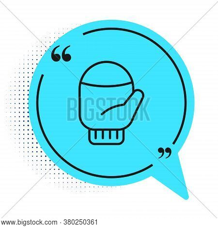 Black Line Christmas Mitten Icon Isolated On White Background. Blue Speech Bubble Symbol. Vector