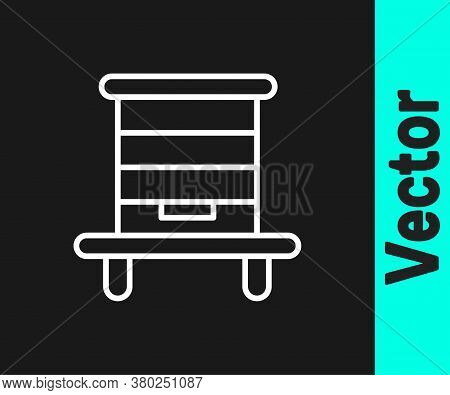 White Line Hive For Bees Icon Isolated On Black Background. Beehive Symbol. Apiary And Beekeeping. S