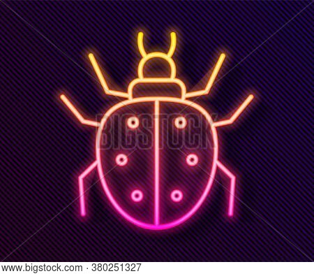 Glowing Neon Line Mite Icon Isolated On Black Background. Vector