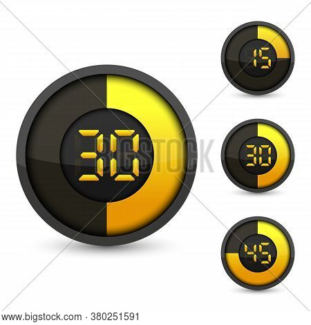 Timer And Clock Isolated Set Icons. Stopwatch Icons Template For Your Business Project. Vector Illus