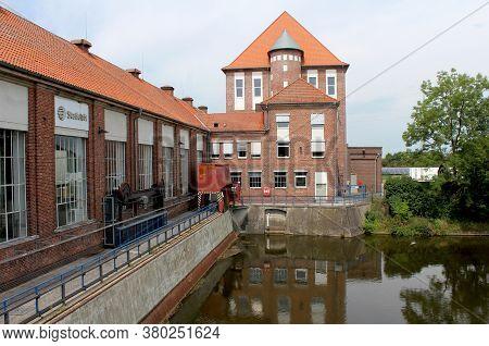Dorverden, Germany, 19 July 2020: The  Statkraft Hydro Electric Power Station On The Weser River. It