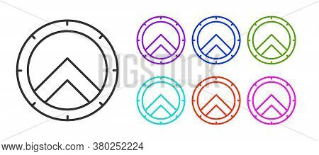 Black Line Greek Shield With Greek Ornament Icon Isolated On White Background. Set Icons Colorful. V
