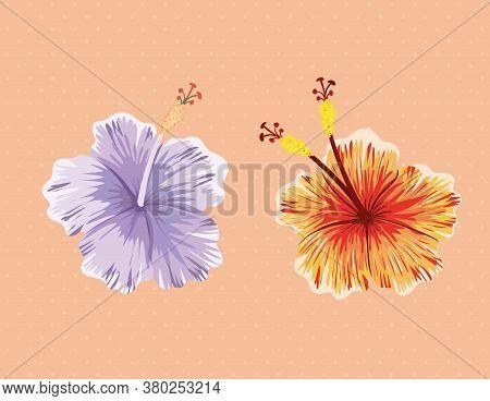 Purple And Orange Hawaiian Flowers Painting Design, Natural Floral Nature Plant Ornament Garden Deco