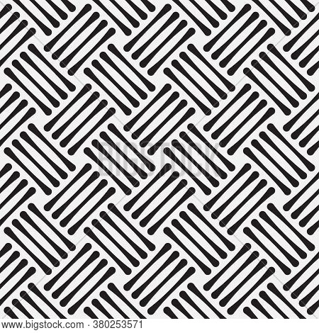Abstract Seamless Models. Modern Striped Black White Texture. Simple Background With Repeating Strok