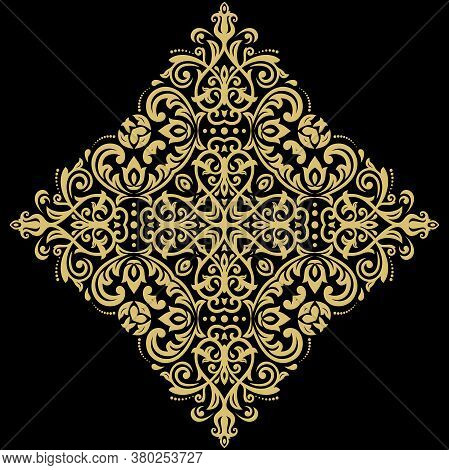 Oriental Vector Pattern With Arabesques And Golden Floral Elements. Traditional Classic Golden Ornam