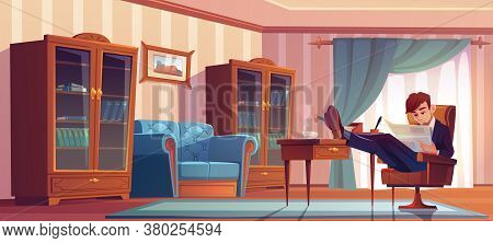 Businessman In Vip Cabinet Reading Finance News In Newspaper And Drinking Coffee At Morning. Man In