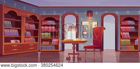 Vip Library, Luxury Interior, Empty Room For Reading With Books Stand On Wooden Bookcase Shelves, Co