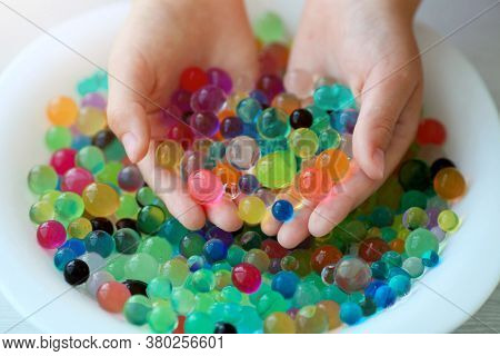 Close Up Background Of Hydrogel Water Balls - Orbiz. Colorful Orbeez