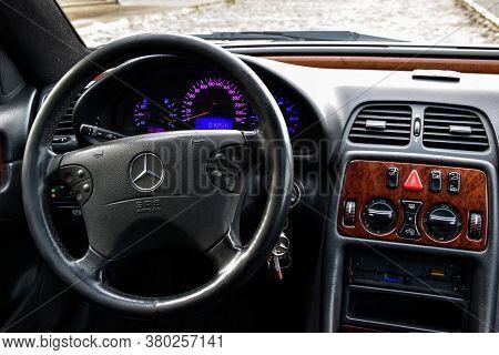 Riga, Latvia - April 22, 2018: Interior Of Silver Mercedes-benz Coupe Clk200 Kompressor - W208, 2001
