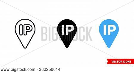 Ip Icon Of 3 Types Color, Black And White, Outline. Isolated Vector Sign Symbol.