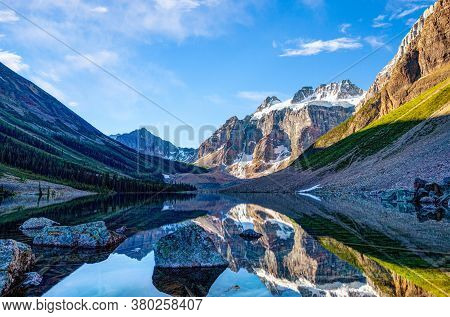 Hike To Glacier-covered Mount Quadra On Consolation Lake Near Moraine Lake In Banff National Park, A