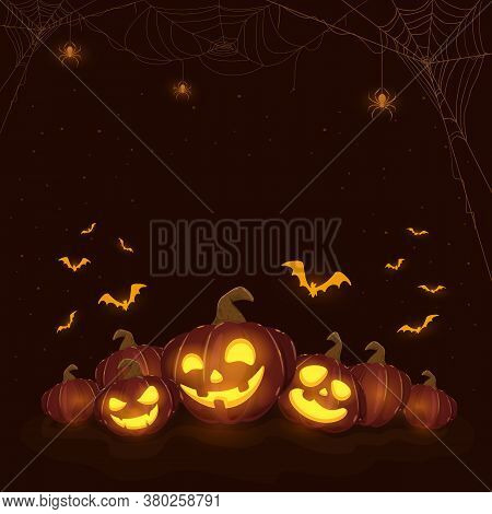 Halloween Pumpkins On Black Night Background. Holiday Theme With Jack O' Lanterns, Spiders And Bats.