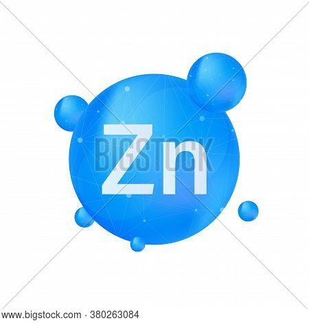 Zn, Zinc For Healthcare Design. Vitamin Complex. Healthcare Concept. Food Concept. Organic Food Icon