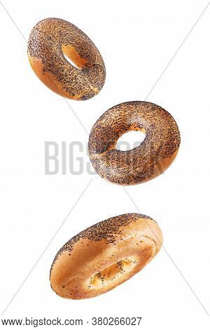 Bagel With Poppy Seeds On A White Isolated Background