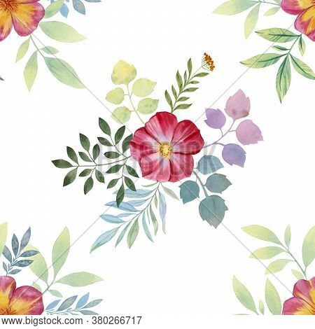 Seamless Watercolor Flowers Pattern. Flowers And Leaves. Hand Painted Color. Floral Pattern For Desi