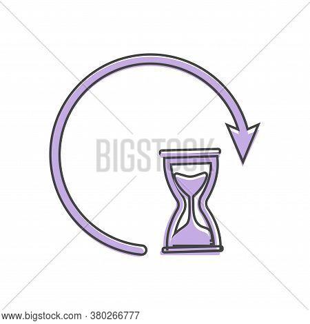 Sandglass Clock Icon. Flat Image Sandglass Cartoon Style On White Isolated Background.