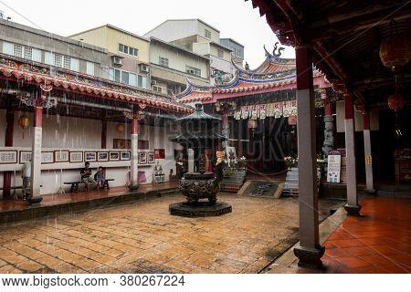 Changhua, Taiwan - July 27th, 2020: Yuan-ching Temple in Changhua County at a heavy raining day, Changhua, Taiwan, Asia