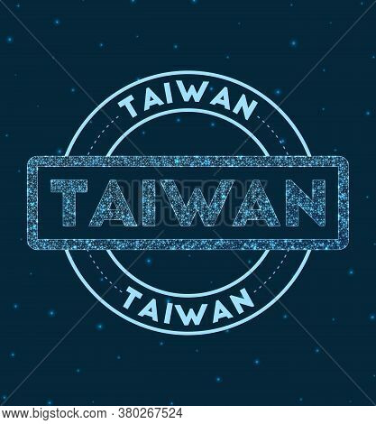Taiwan. Glowing Round Badge. Network Style Geometric Taiwan Stamp In Space. Vector Illustration.