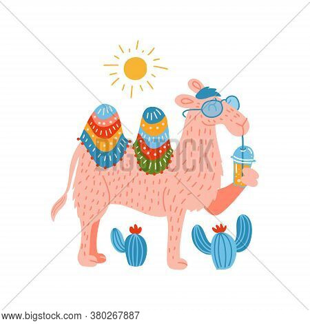 Cute Pink Camel In A Glasses With A Plastic Cup Mockup Of Smoothie. Humor Card, T-shirt Composition,