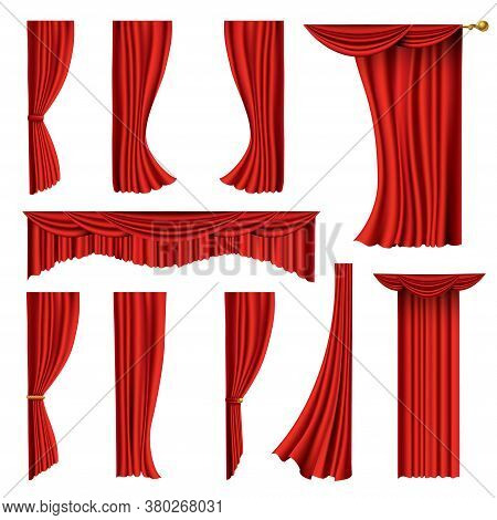 Collection Of Realistic Red Curtains. Theater Fabric Silk Decoration For Movie Cinema Or Opera Hall.