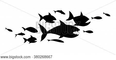Black Flock Of Fish. School Of Fish. Logo Template Design .