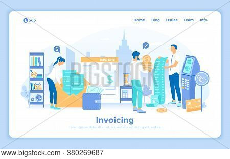 Invoicing And Payment. Online Paying, Bookkeeping, Accounting, Shopping, Banking. Man Pays The Bill.