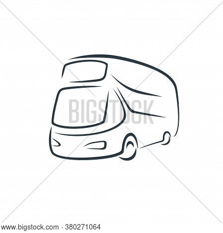Double-decker Bus In The Style Of Brush Strokes.