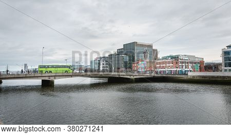 Dublin, Ireland - February 12, 2019: Mix Of Modern And Old Architecture Along The Liffey River In Th