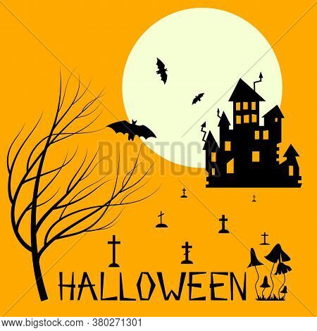 Halloween Party. Haunted House In Moonlight. Scary House Among Poisonous Mushrooms. Celebration By T