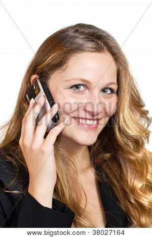 Business Woman On Her Mobile Phone - Isolated Over A White Background