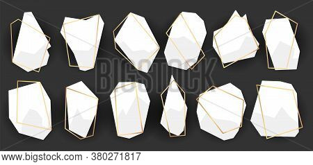 Geometric Frames Polyhedrons. Abstract Gold Frames. Luxury Decorative Modern Polygonal Geometric Ban