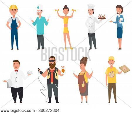 Set Professions Builder Doctor Cook. Isolated Vector In Cartoon Style. Collection Of Occupation, Men