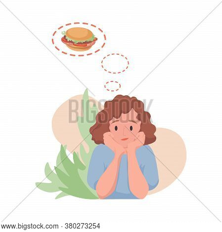 Young Woman Dreaming Of Hamburger Vector Flat Cartoon Illustration Isolated On White Background. Hun