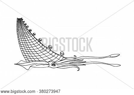 Squid In A Trawl, Sea Mollusk, Delicious Seafood, Logo Or Emblem Of Marine Fish Industry, Vector Ill