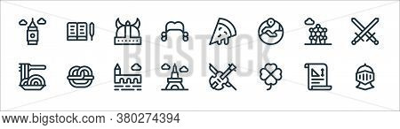 Europe Line Icons. Linear Set. Quality Vector Line Set Such As Knight, Clover, Eiffel Tower, Spaghet