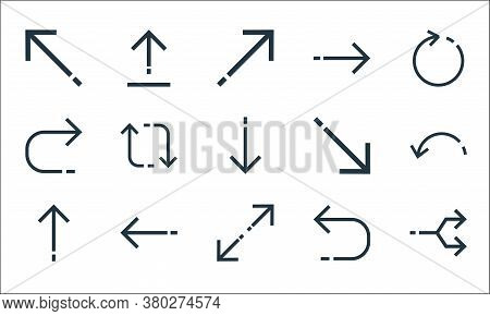 Arrows Line Icons. Linear Set. Quality Vector Line Set Such As Junction, Expand Arrows, Up Arrow, Re