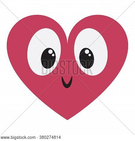 Isolated Cute Kawaii Heart Animated With Eyes Colorful - Vector