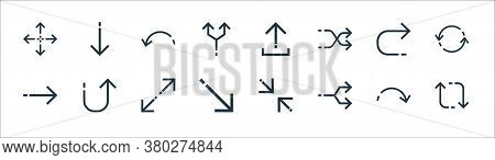 Arrows Line Icons. Linear Set. Quality Vector Line Set Such As Recycling, Junction, Diagonal Arrow,
