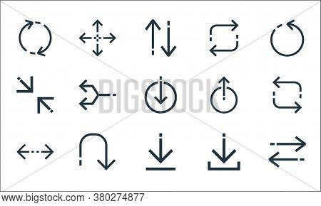 Arrows Line Icons. Linear Set. Quality Vector Line Set Such As Transfer, Download, Left Right, Direc