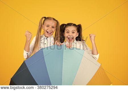 Girls Friends With Umbrella. Rainy Day. Happy Childhood. Kids Happy With Umbrella. Fall Weather Fore